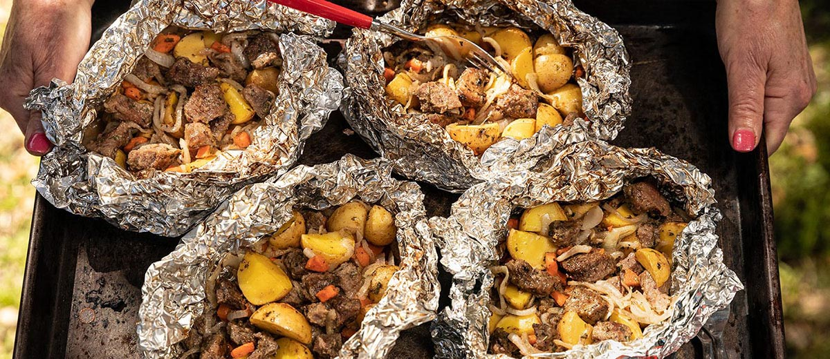 Campfire Steak and Potatoes Foil Pack